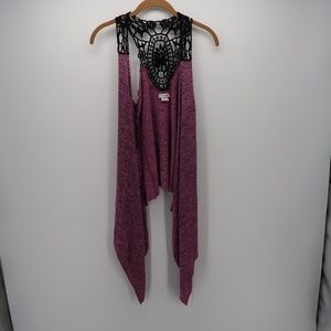 Body Central Hi-Lo Embroidered Open Front Cardigan